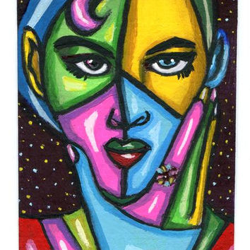 aceo atc art abstract original painting modern woman thinking acrylics miniature paintings Elizavella