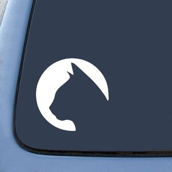 Cat Circle Silhouette  Car Window Ipad Tableet PC Notebook Cumputer Decal Sticker
