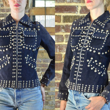Vintage 70's Wolf Brothers Studded Navy Blue Suede Leather Cropped Rocker Jacket