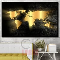 Gold World map, Photo on Canvas, World Map Large Art , Large Canvas Print, World Map for Home, Office Decoration, black and gold card