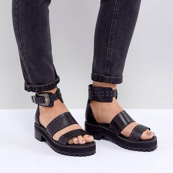 ASOS DESIGN Foxglove Wide Fit Premium Leather Gladiator Flat Sandals at asos.com