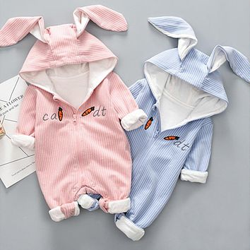 New Spring Autumn Baby Rompers Striped Cotton Cute Cartoon Rabbit Infant Girl Jumpsuits Kids Baby Boy Clothes Outfits