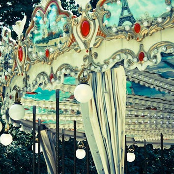Carousel in the Tulleries, Paris Photography, Carnival- Whimsical, Paris, France, Tulleries, French Garden, Kids Wall Art, Parisian