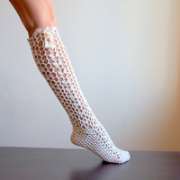 PDFpattern - Knee high Sokcs, leg warmers, lacy slippers crochet - DIY tutorial - lace fashion- dance, yoga, wedding, bride, fall winter