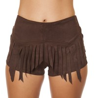 Suede shorts with Fringe