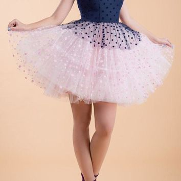 Navy Blue Polka Dot Print Grenadine Tulle Tutu Cute Party Mini Dress