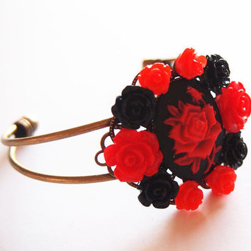 Red Red Rose Cameo Collage Bracelet Antique Brass by glamasaurus