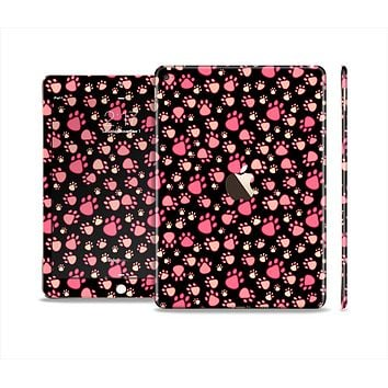 The Pink Paw Prints on Black Skin Set for the Apple iPad Air 2