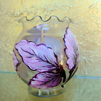Glass Vase Embellished with Decoupaged Hand Painted Leaves, Deep Plum, Violet and Silver