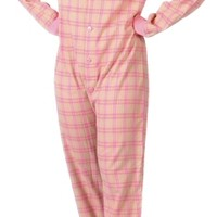 Flannel Adult Footed Pajamas in Pink and Yellow (107) from Footie Pajamas : Women's Onesuits : Footed Pajamas Onesuits : BigFeetPJs.com