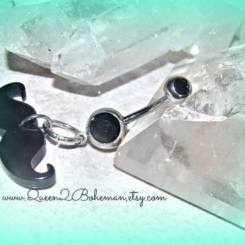 Mustache Button Belly Ring Hipster Direct Checkout Ready to Ship