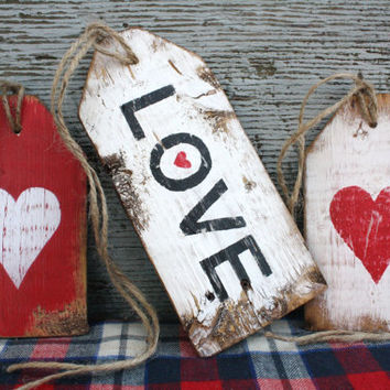 FREE SHIP Love Heart Valentine's Day Decor Rustic Distressed Wood Large Tag Sign Set