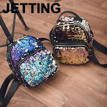 JETTING 2017 New Arrival Women All-match Bag PU Leather Sequins Backpack Girls Small Travel Princess Bling Backpacks 3 Colors