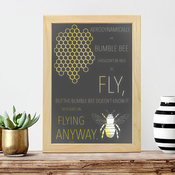 Bumble Bee + Bee Hive Geometric Minimalist Poster Print // Boho Decor Nature Print - Wildlife Art // Bohemian Wall Art- Inspirational Print