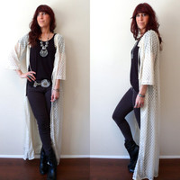 Vintage Cream Lace Duster 1970's Sheer Robe