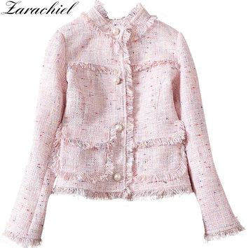 Zarachiel Pink And Grey Tweed Jacket Coat 2018 Winter Women Tassels Fringed Twill Long Sleeve Pearl Buckle Jacket Short Overcoat