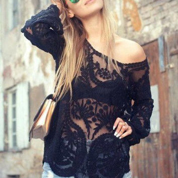 Fashion embroidered chiffon long-sleeved shirt