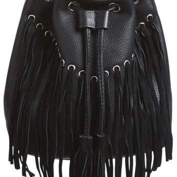 Street Level Fringe Faux Leather Bucket Bag | Nordstrom