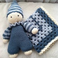 Crochet Cuddly Baby Amigurumi Doll Blue with Lovey Travel Security Blanket