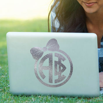 Bow Monogram Decal // Sorority Decal //ΑΦ // Alpha Phi // Laptop Sticker // Car Decal