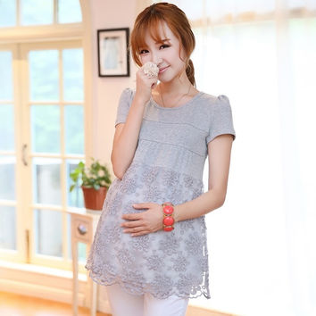 Short-sleeve Cotton Maternity Shirts with Organza Elegant Summer Maternity T-shirt 2015 New Fashion Pregnancy Clothing = 1946628164
