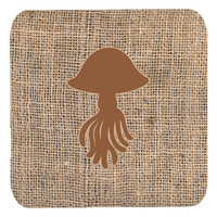 Set of 4 Jellyfish Burlap and Brown Foam Coasters
