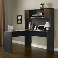 L-Shaped Office Computer Desk with Hutch in Slate Grey & Cherry Wood Finish