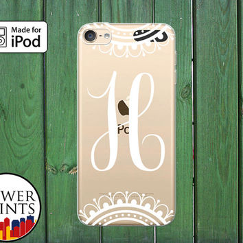 Cursive Monogram Lacy White Design Cute Fancy Custom Clear Case For iPod Touch 5th Generation and iPod Touch 6th Generation iPod 5 iPod 6