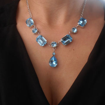Victoria, Swarovski Necklace, Aquamarine Blue, Crystal, Filigree, Rectangular-Oval setting in silver plated chain pendant necklace