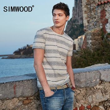 SIMWOOD Breton Slim Fit Striped Print Curl Hem Fashion T-shirt
