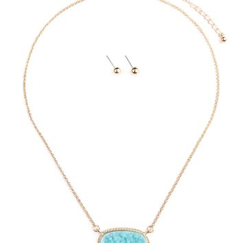 Druzy Stone Pendant Necklace and Stud Earring Set