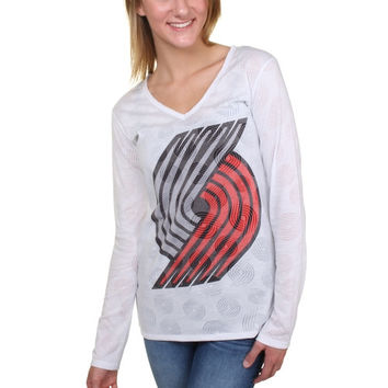 Portland Trail Blazers Women's Sublime Burnout V-Neck Long Sleeve T-Shirt – White