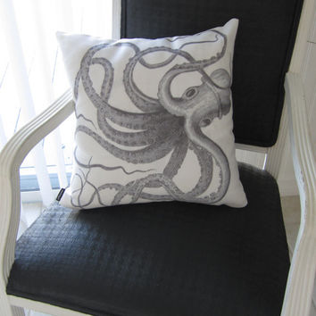 Vintage kraken octopus throw pillow cthulhu sea monster nautical antique Victorian steampunk drawing beach house home decor