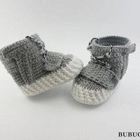 Grey Baby shoes, Yeezy Boost 750, Crochet baby shoes, Crochet baby sneakers, Baby shoe