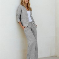 Poetry - Wide Leg Striped Linen Trousers