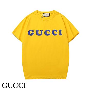 GUCCI Hot Sale Candy Color Casual Print T-Shirt Top Blouse Yellow