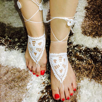 BAREFOOT SANDALS, Crochet, White, Beach Wedding Sandals, Nude Shoes, Summer Hippie,Bridal Foot Jewelry, Anklets Cotton,