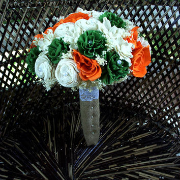 Orange and green bridal bouquet | Sola flower bouquet | Rustic bouquet | Wedding bouquet | Fall bouquet | keepsake bouquet