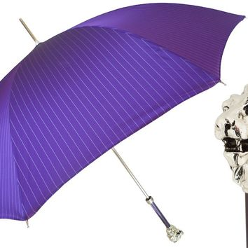 Pasotti Purple Umbrella with Silver Lion Handle
