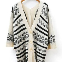 Retro Loose Fitting Wavy Strip Pattern Cardigan from styleonline
