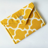 Business Card Holder, Gift for Coworker, Gift Card Holder - Yellow and White Lattice