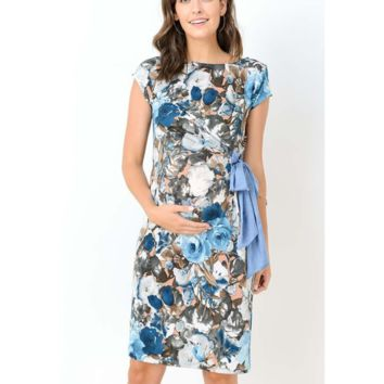 Beautiful Blue Floral Adjustable Maternity Dress