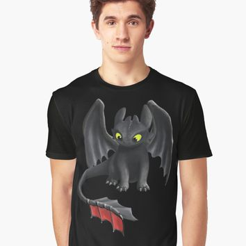 'Toothless, Night Fury Inspired Dragon.' Graphic T-Shirt by Art Landing