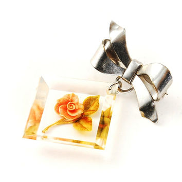 Vintage Dangle Brooch, Silver Bow Brooch, Clear Carved Lucite Brooch, Embedded Pink Rose Brooch,  1970s Floral Flower Lucite Jewelry