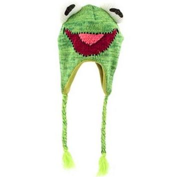 the Animals Green Frog Plush Laplander Beanie Knit Hat With Tassels Reversible Specialty Knitting Knitted Wool Cotton Cap
