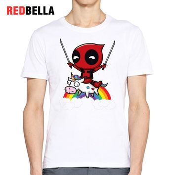 REDBELLA Kawaii T-shirt Men Unicorn Deadpool American Cartoon Clothes Rainbow Character O-neck Printed Casual Camisa Masculina