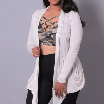 Plus Size Long Sleeve Cardigan - Ivory