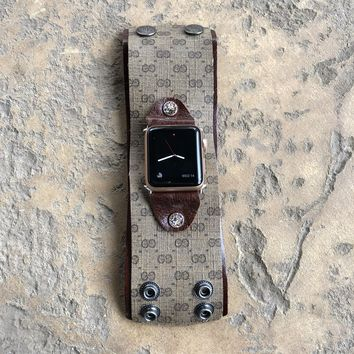 Large Apple Watch Band from UPCYCLED Vintage Gucci Bag w/crystals