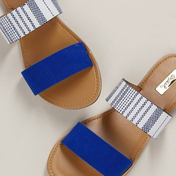 Striped Two Band Flat Slide Sandals