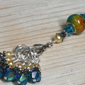 Golden Turquoise Ombre Stitch Marker Set with Clip Holder
